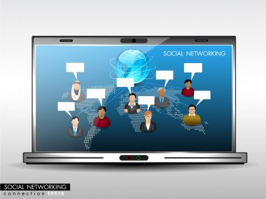 Social network, communication in the global networks showing wit