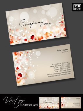 Business cards, template or visiting card set. and love concept, abstract EPS 10 Vector illustration. stock vector