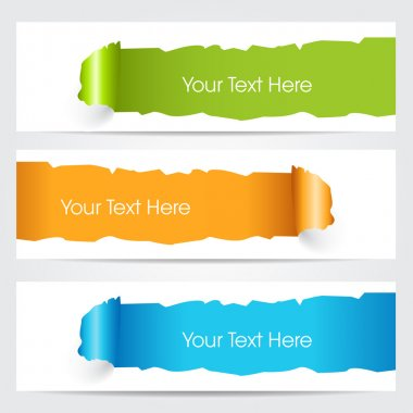 Vector illustration of banners or website headers with green, orenge and blue color hole through pape with EPS 10 format.