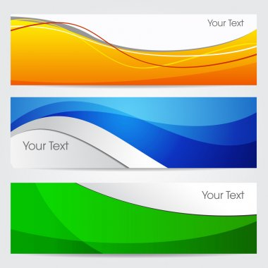 Vector illustration of banners or website headers with green, orenge and blue color wave. EPS 10 format