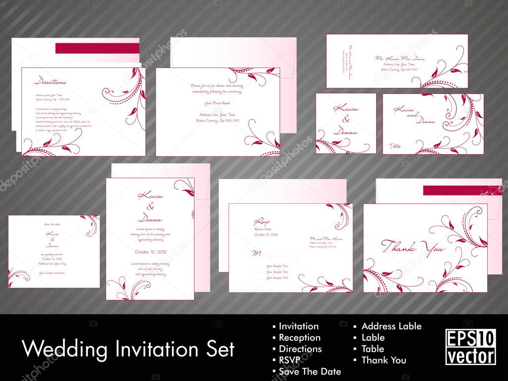 A complete wedding Invitation kit with beautiful and elegant ...
