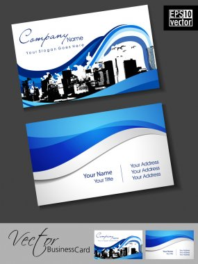 Professional Real estate business card with urban city silhouette. Blue Artistic wave effect with grunge, abstract corporate look, EPS 10 Vector illustration.