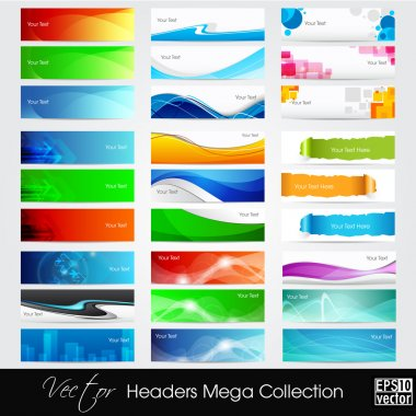 Colorful shiny banners or website headers with abstract wave and circle concept.EPS 10. Vector iluustration. stock vector