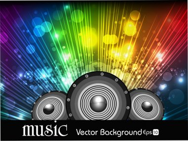 Abstract music background in multi colors rays and spekers.