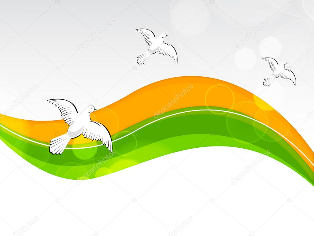 Creative Indian flag color background with wave and pigeons for Independence Day, Republic Day and other occasion. Vector Illustration .EPS10. stock vector