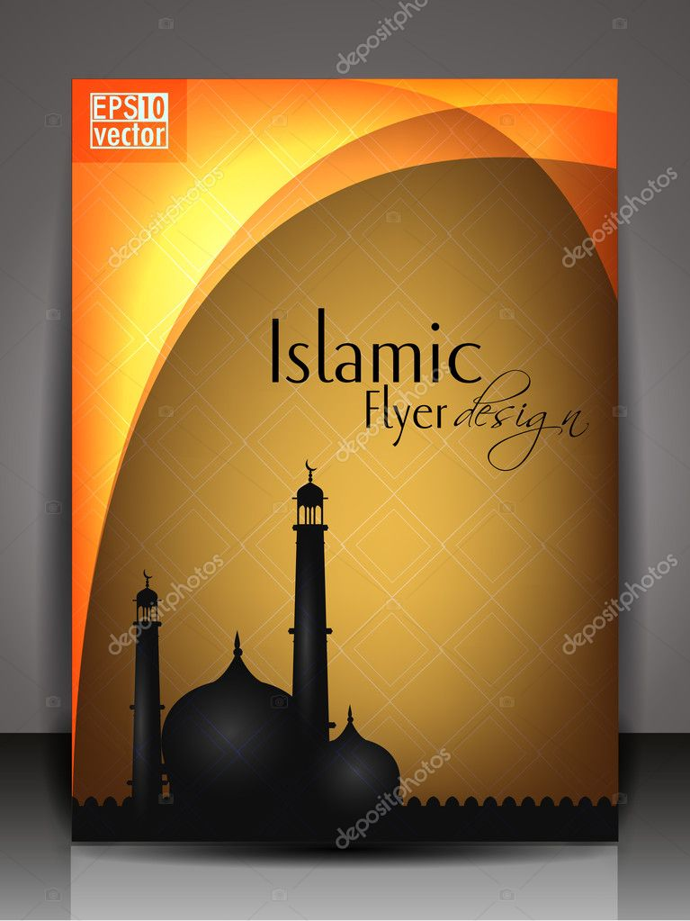 Arabic Book Cover Design Vector : Islamic flyer brochure or cover design with abstract