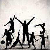 Silhouette sport személyek, illetve a sportolók, absztrakt szutykos szürke háttéren. EPS 10.
