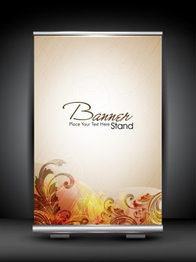 Stand banner with roll up display for product promotion or templ