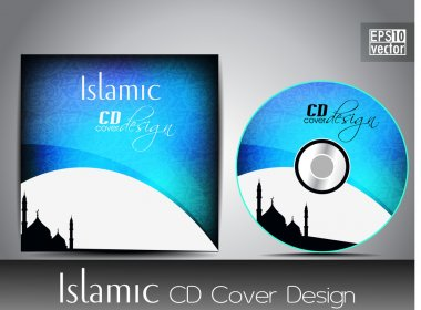 Islamic CD cover design with Mosque or Masjid silhouette with bl