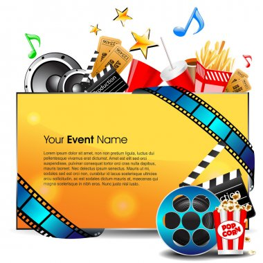 Illustration of film stripe with entertainment object s and banner for your text on grey background. EPS 10