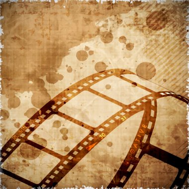Illustration of a film stripe or film reel on grungy brown movie background. EPS 10