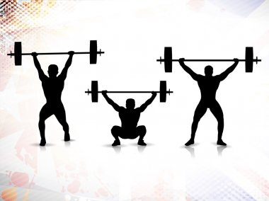 Sequence of weight lifting, silhouette of a weight lifter on grungy colorful background. EPS 10