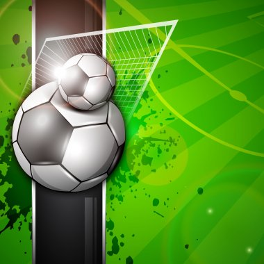 Illustration of soccer football in goal post on soccer stadium background. EPS 10.