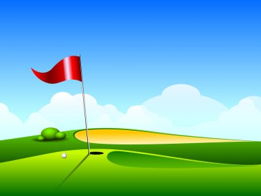 Vector illustration of golf ground with hole and flag. EPS 10.