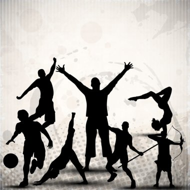 Silhouette of sports persons or athletes on abstract grungy grey background. EPS 10.