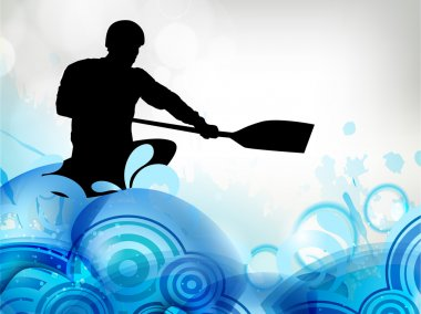 Stylized vector illustration silhouette of a canoe slalom player