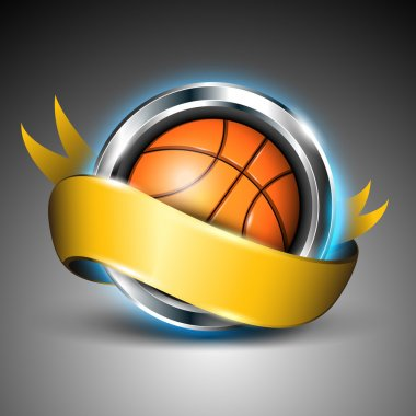 Shiny steel circle with basket ball and yellow ribbon isolated on grey background. EPS 10.