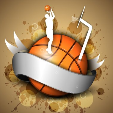 Basketball icon or element with a shiny ribbon, silhouette of a player practicing