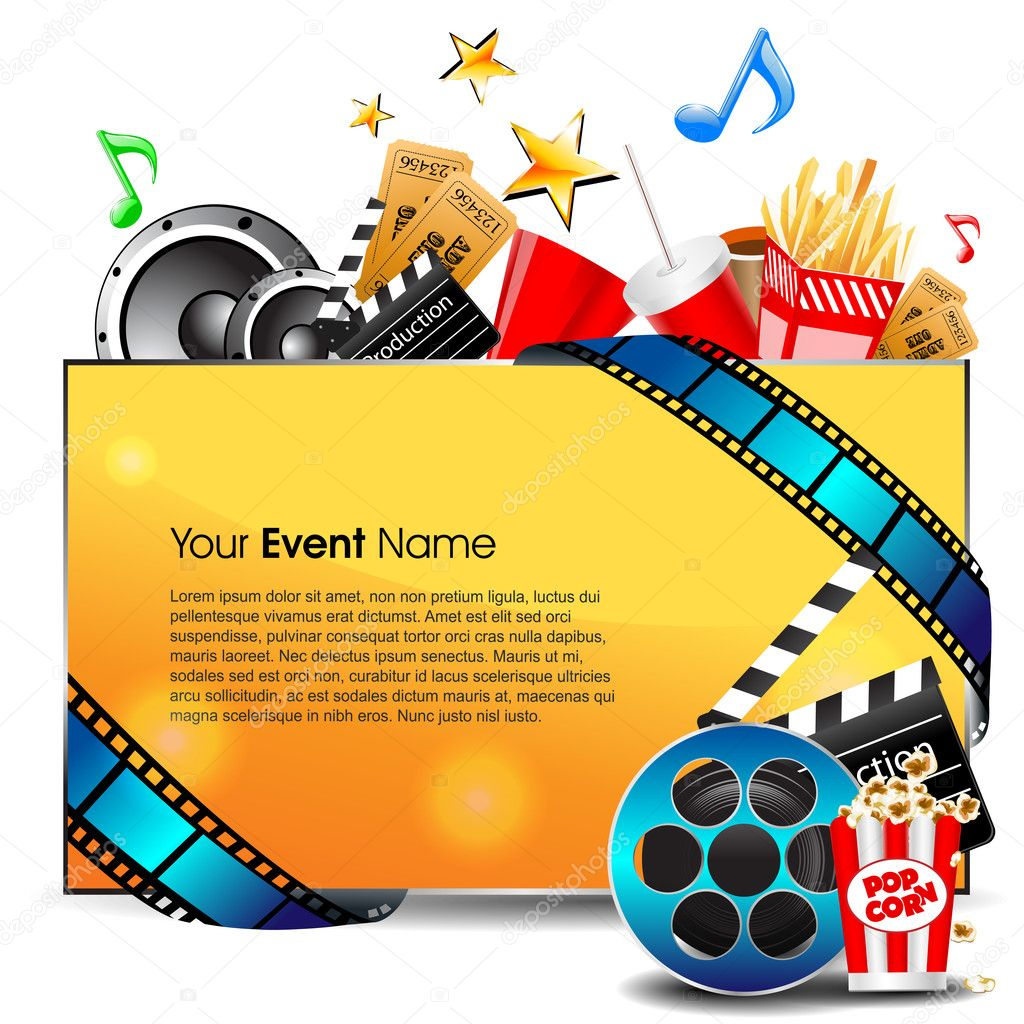 Illustration of film stripe with entertainment object s and banner for your text on grey background. EPS 10 stock vector