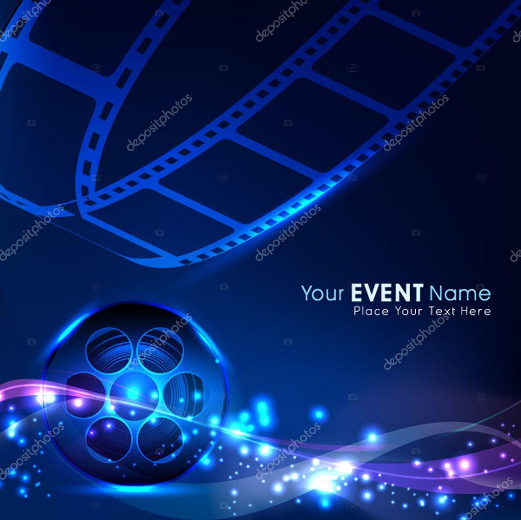 Illustration of a film stripe or film reel on shiny blue movie background. EPS 10 stock vector