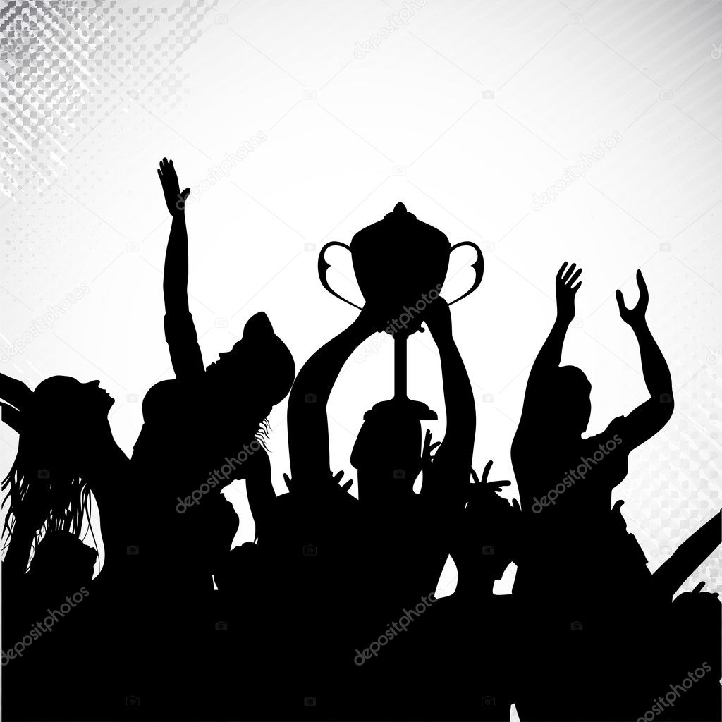 Silhouettes of winners team players with trophy and celebrating sports or business victory. EPS 10.