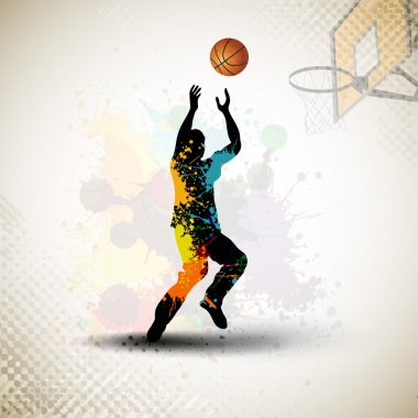 Illustration of a basketball player practicing with ball at cour