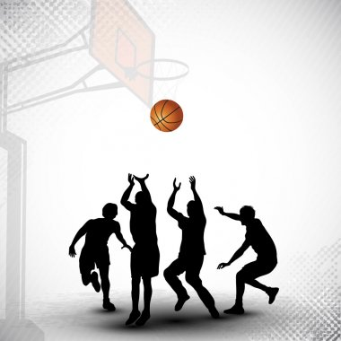 Silhouette of a basketball players playing with basket ball ma
