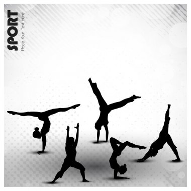 Group of rhythmic gymnastic girls on grungy abstract background