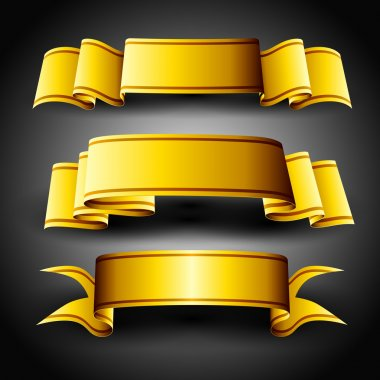 Golden ribbons set, isolated on grey background. EPS 10.