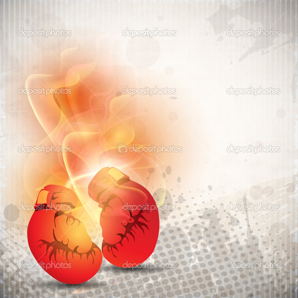 Boxing gloves in fire on grungy dotted grey background. EPS 10.