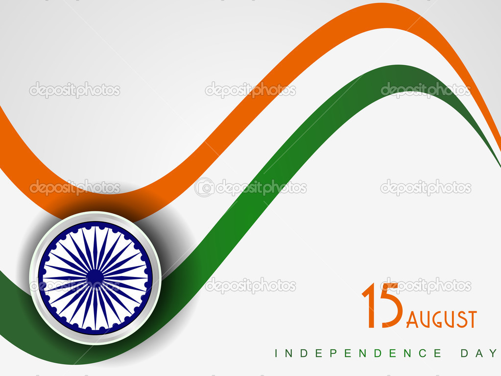 Vector illustration of Indian tricolor flag with wave on white i