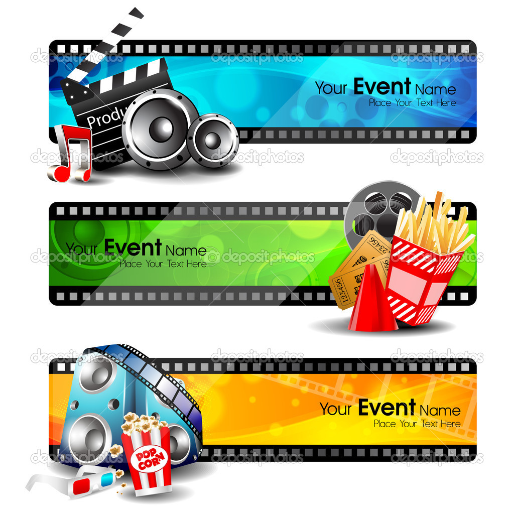 Movie website headers or banners set with full of entertainment and cinema objects. EPS 10. stock vector