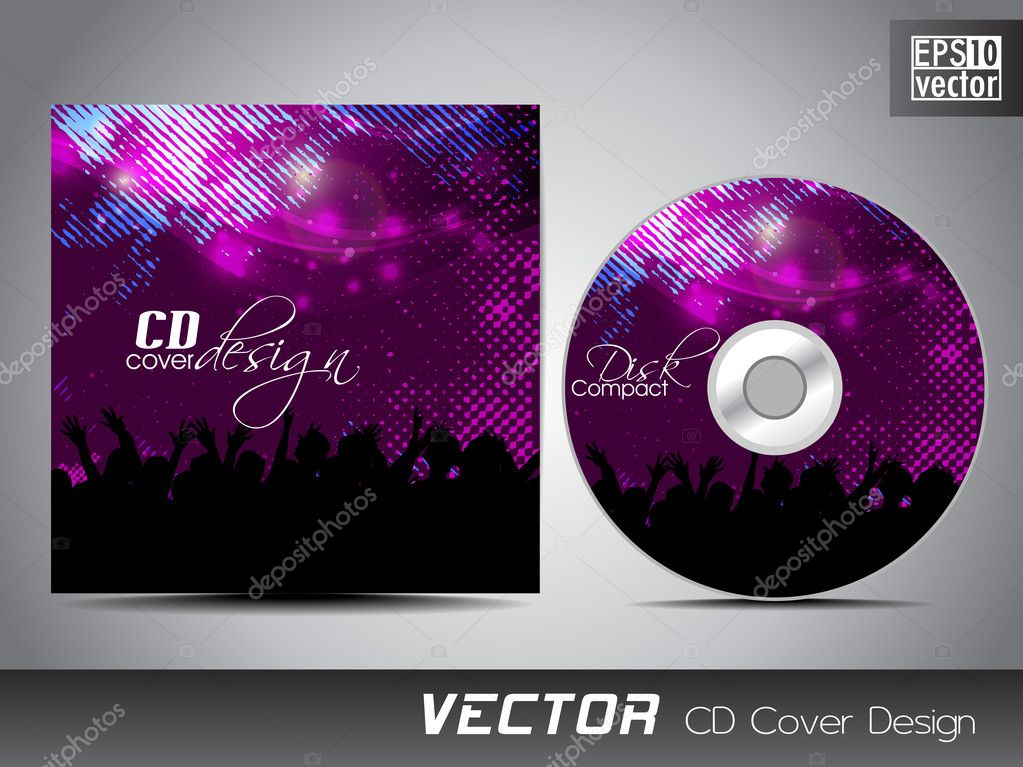 CD cover presentation design template with copy space and music concept, editable EPS10 vector illustration.