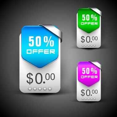 Discount icon set, can be use as label, tag, bookmark or sticker. EPS 10.