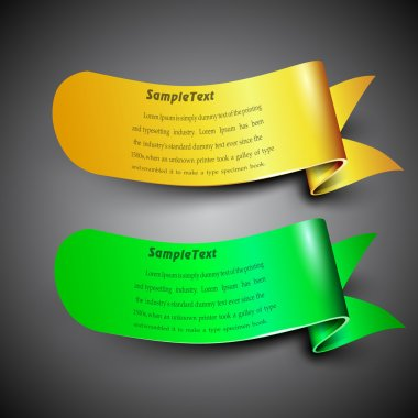 Ribbons in yellow and green color with text space, can be use as label, tag, bookmark or sticker. EPS 10.
