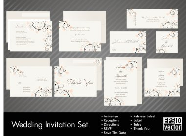 Complete set of wedding invitations or announcements with floral decorative artwork. EPS 10.