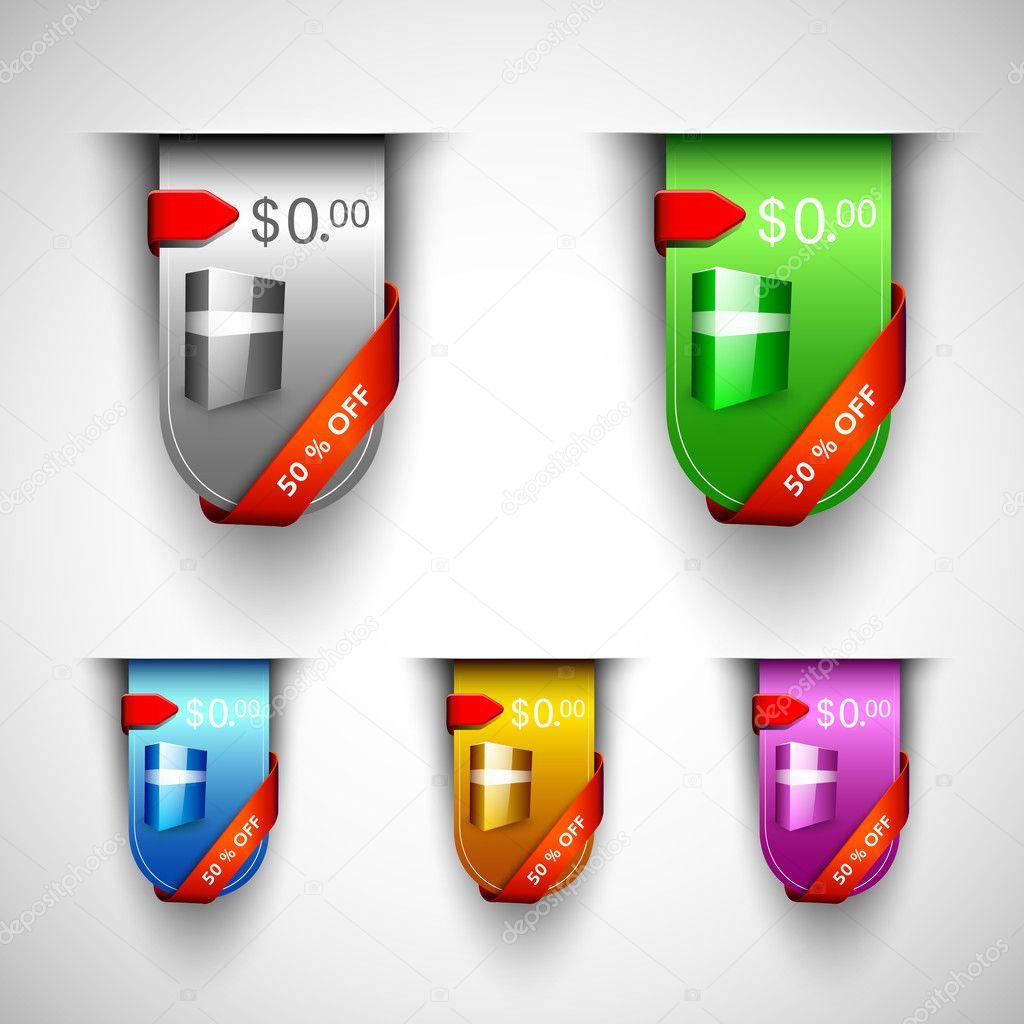 Rabatt Symbolsatz mit gegliederten Produktübersicht und Band, als ...