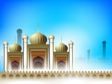 Golden Mosque or Masjid on beautiful abstract background. EPS 10