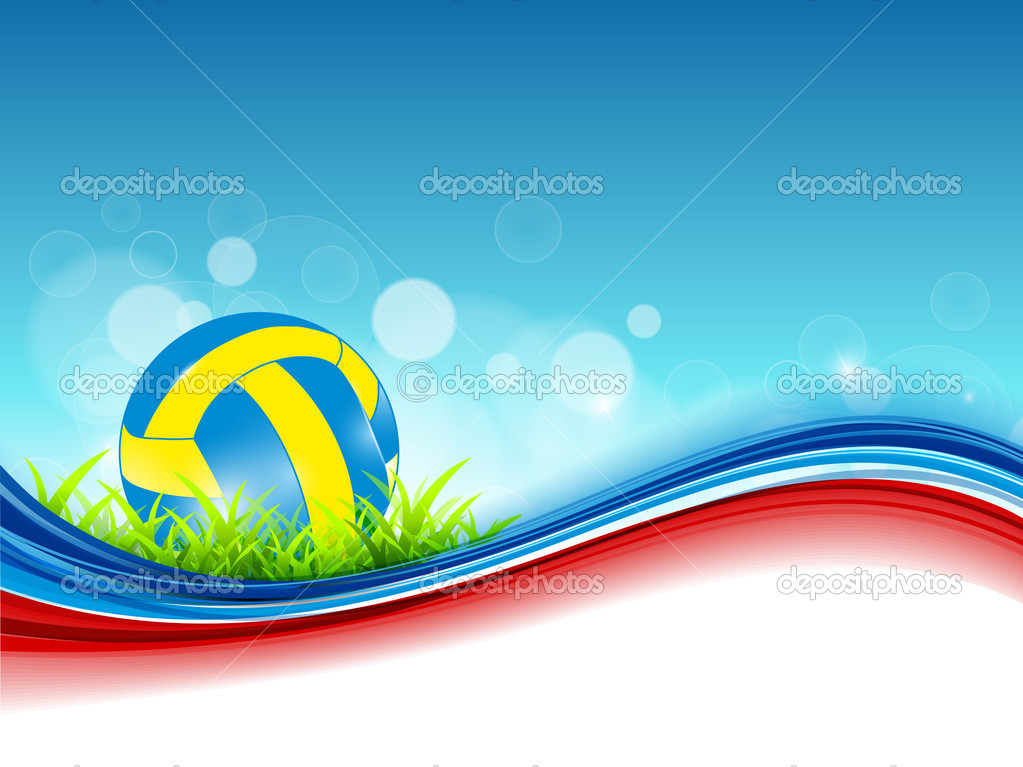 Background Abstract Sport Volleyball Blue Yellow Ball: Abstract Volleyball On Colorful Wave Background.
