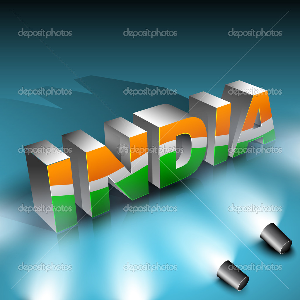 Shiny Presentation Of 3D Text India In Indian Flag Color