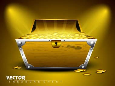 Treasure chest with full of coins on shiny abstract background.