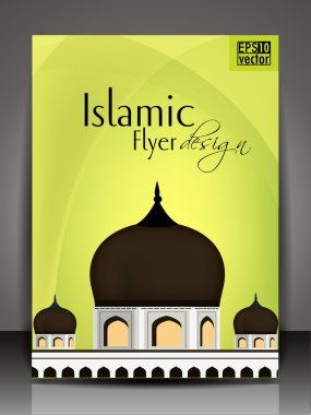 Islamic flyer brochure or cover design with Mosque and Masjid on