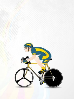 Vector illustration of bmx or mountain or track cyclist, on wave