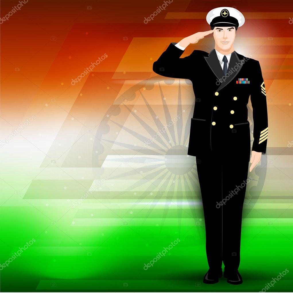 Soldier on Indian Flag color background. EPS 10.