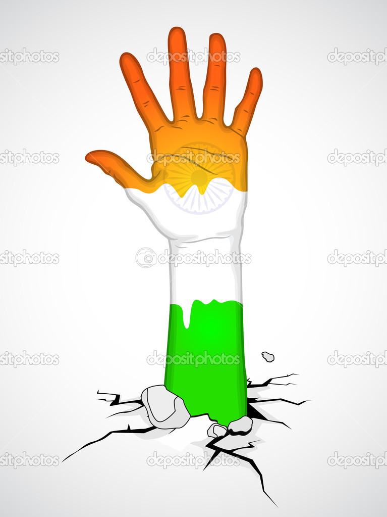 Human hand in Indian Flag color. EPS 10.