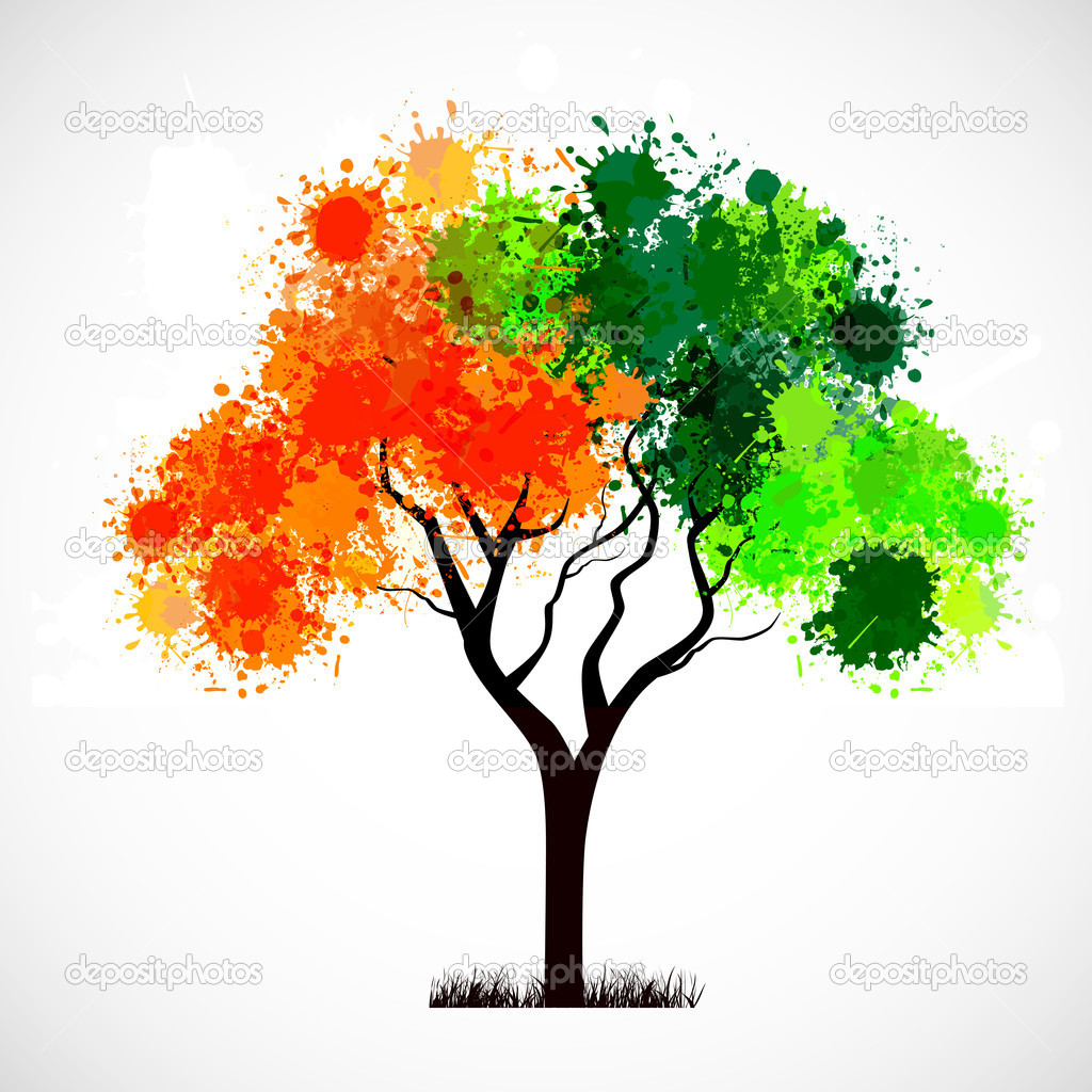 Abstract tree with leafs in Indian Flag color. EPS 10.
