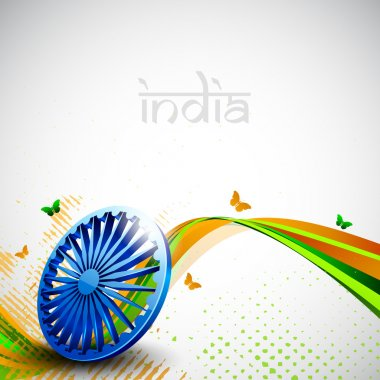 Indian flag color creative wave background with 3D Asoka wheel a
