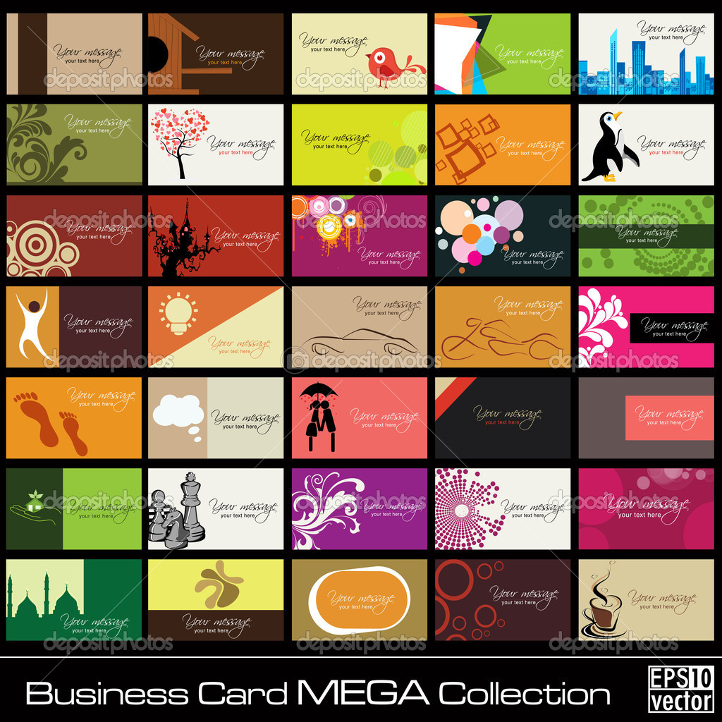Mega Collection Abstract Business Cards set in various concepts.