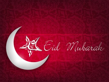 Shiny Moon with Star with Arabic text Eid Mubarak on creative ab
