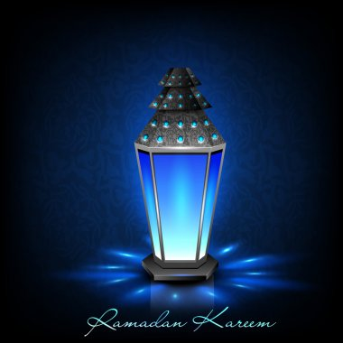 Intricate Arabic lamp with lights on creative blue background. E